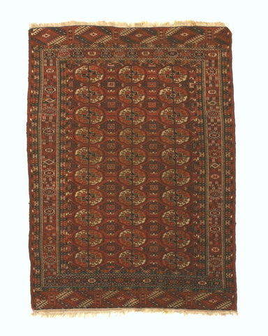 Hand-knotted Wool Rust Traditional Geometric Baluchi Rug, 3'10 x 5'2