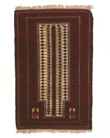 Hand-knotted Wool Red Traditional Geometric Baluchi Rug, 3'2 x 4'10