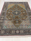 Gold Traditional Qum Rug, 4' 6 x 7'