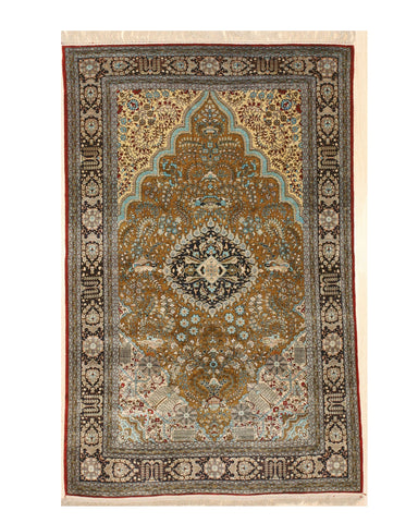 Hand-knotted Silk Gold Traditional Floral Qum Rug, 4' 6 x 7'