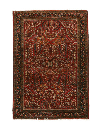 Hand-knotted Wool Red Traditional Floral Sarouk Rug, 3' 3 x 4' 9