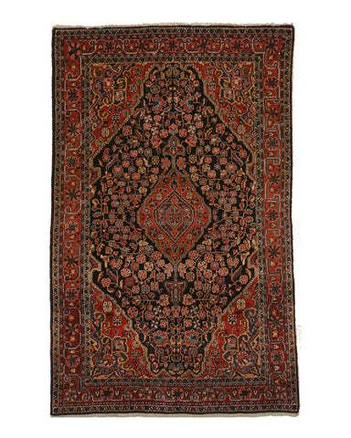Hand-knotted Wool Navy Traditional Oriental Sarouk Rug, 4'3 x 6'8