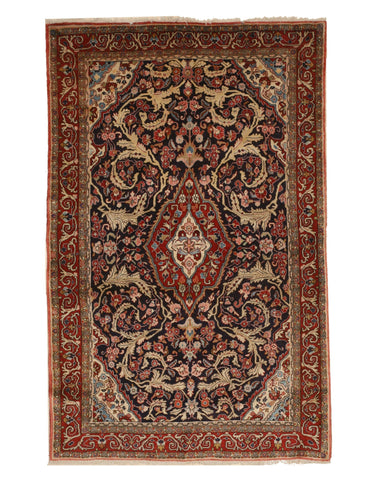 Hand-knotted Wool Navy Traditional Oriental Sarouk Rug, 4'5 x 7'1