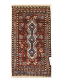 Hand-knotted Wool Rust Traditional Geometric Yalameh Rug, 1' 8 x 2'11