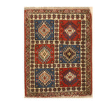 Hand-knotted Wool Blue Traditional Geometric Yalameh Rug, 2' 1 x 2' 9