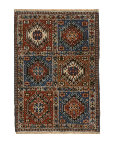 Hand-knotted Wool Brown Traditional Geometric Yalameh Rug, 2' 1 x 2'11