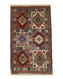 Hand-knotted Wool Ivory Traditional Geometric Yalameh Rug, 2' x 3' 2