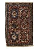 Hand-knotted Wool Ivory Traditional Geometric Yalameh Rug, 2' x 3' 1
