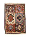 Hand-knotted Wool Blue Traditional Geometric Yalameh Rug, 2' 2 x 3'