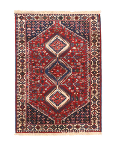 Red Traditional Yalameh Rug, 3' 5 x 4' 8