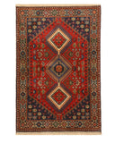 Hand-knotted Wool Rust Traditional Geometric Yalameh Rug, 3' 4 x 4' 9