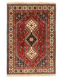 Red Traditional Yalameh Rug, 3' 5 x 4' 9