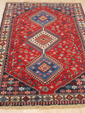 Red Traditional Yalameh Rug, 3' 4 x 4'10