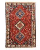 Hand-knotted Wool Red Traditional Geometric Yalameh Rug, 3' 4 x 4'10