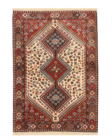 Hand-knotted Wool Ivory Traditional Geometric Yalameh Rug, 3' 5 x 4'10