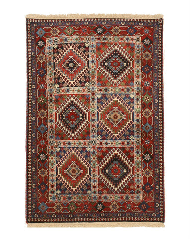 Hand-knotted Wool Rust Traditional Geometric Yalameh Rug, 3' 4 x 4'11