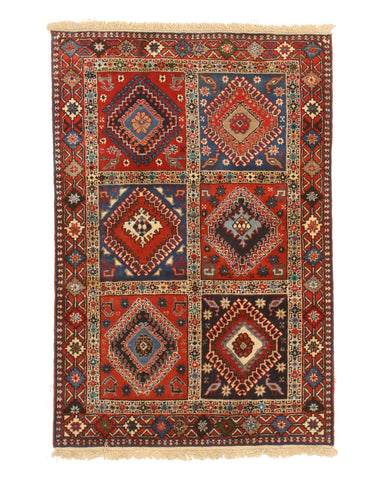 Red Traditional Yalameh Rug, 3' 4 x 4'11