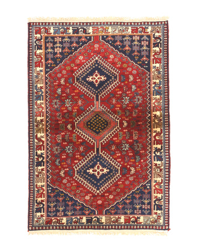 Red Traditional Yalameh Rug, 3' 4 x 5'