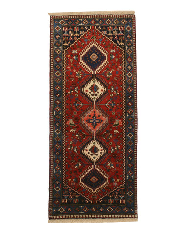 Hand-knotted Wool Rust Traditional Geometric Yalameh Rug, 2' 8 x 6' 4