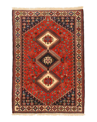 Hand-knotted Wool Rust Traditional Geometric Yalameh Rug, 3' 5 x 5'