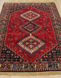 Orange Traditional Yalameh Rug, 3' 7 x 5'
