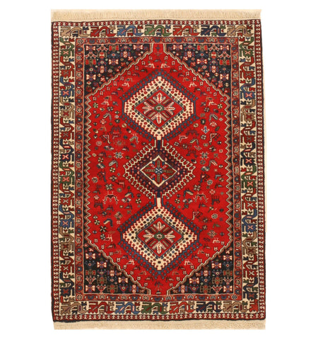 Hand-knotted Wool Orange Traditional Geometric Yalameh Rug, 3' 7 x 5'