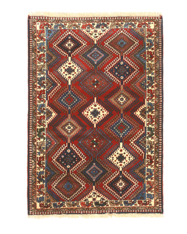 Red Traditional Yalameh Rug, 3' 7 x 5'3