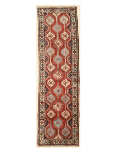 Hand-knotted Wool Rust Traditional Geometric Yalameh Rug, 2' 7 x 8'11