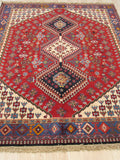 Red Traditional Yalameh Rug, 4' 9 x 6' 8