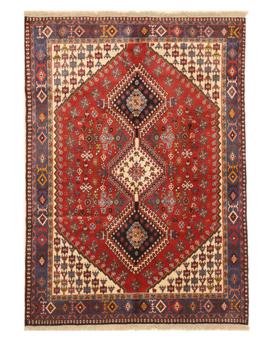 Hand-knotted Wool Red Traditional Geometric Yalameh Rug, 4' 9 x 6' 8