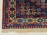 Red Traditional Yalameh Rug, 4'11 x 6' 5