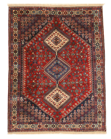 Hand-knotted Wool Red Traditional Geometric Yalameh Rug, 4'11 x 6' 5
