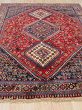 Red Traditional Yalameh Rug, 4'10 x 6' 8
