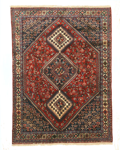 Hand-knotted Wool Red Traditional Geometric Yalameh Rug, 4'10 x 6' 8