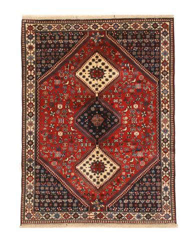Hand-knotted Wool Red Traditional Geometric Yalameh Rug, 5' x 6' 8