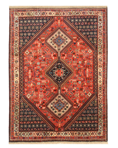 Hand-knotted Wool Rust Traditional Geometric Yalameh Rug, 5' x 6' 9