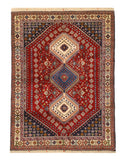 Hand-knotted Wool Red Traditional Geometric Yalameh Rug, 5' 1 x 6' 8