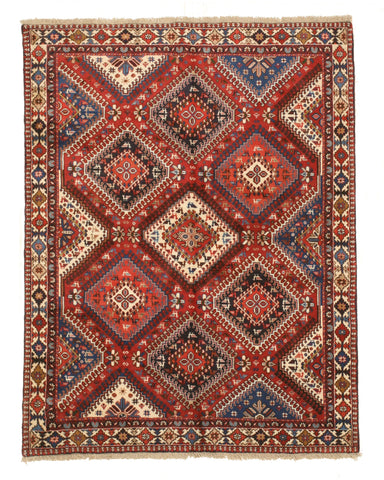 Hand-knotted Wool Rust Traditional Geometric Yalameh Rug, 5' 1 x 6' 8