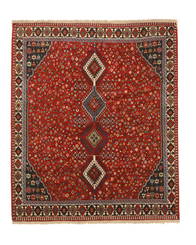Hand-knotted Wool Red Traditional Geometric Yalameh Rug, 5' 4 x 6' 5