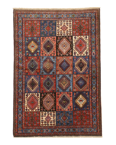 Hand-knotted Wool Rust Traditional Geometric Yalameh Rug, 5' 1 x 7' 5