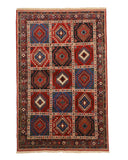 Hand-knotted Wool Navy Traditional Geometric Yalameh Rug, 5' 1 x 7'11