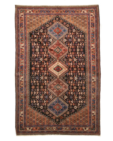 Hand-knotted Wool Rust Traditional Geometric Yalameh Rug, 5' 4 x 8'