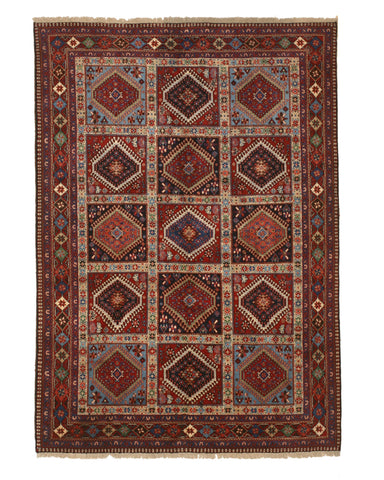 Hand-knotted Wool Rust Traditional Geometric Yalameh Rug, 5' 7 x 8'