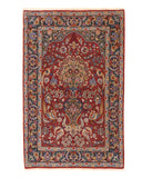 Red Traditional Esfahan Rug, 3' 8 x 5' 8
