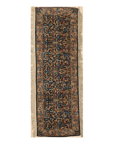 Hand-knotted Wool Blue Traditional Oriental Kerman Rug, 1'11 x 5'9