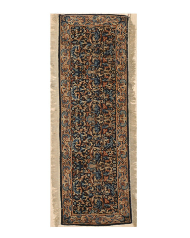 Hand-knotted Wool Blue Traditional Oriental Kerman Rug, 1'11 x 5'8