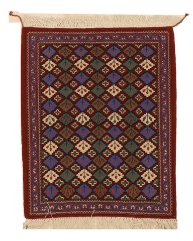 Hand-knotted Wool Red Traditional Oriental Kashan Rug, 2' x 2'6