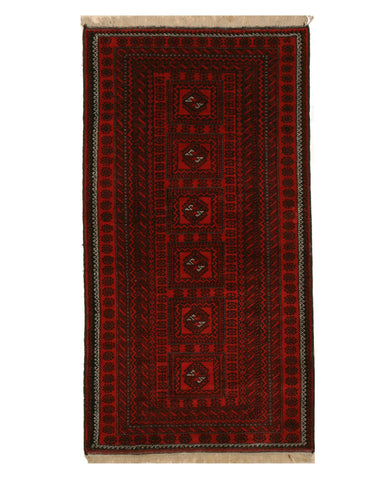 Hand-knotted Wool Red Traditional Geometric Baluchi Rug, 3'9 x 7'