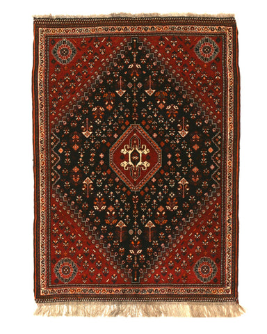 Hand-knotted Wool Navy Traditional Oriental Ghashghai Rug, 3'11 x 5'4