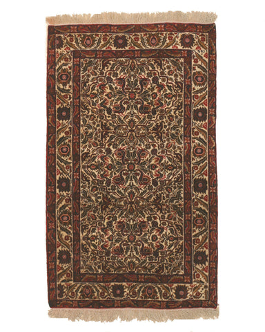 Hand-knotted Wool Ivory Traditional Geometric Baluchi Rug, 3'6 x 5'8